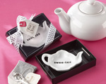 """Swee-Tea"" Ceramic Tea-Bag Caddy in Black & White Serving-Tray Gift Box"